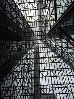 This view is looking up within the Penzoil Place buildings.